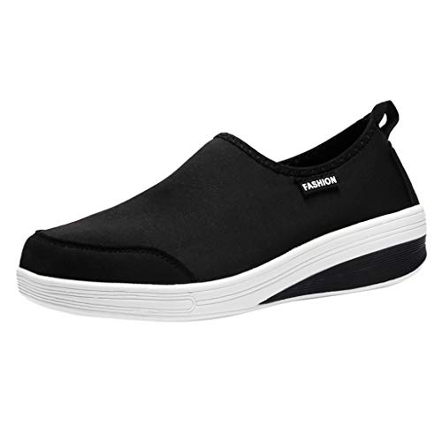 Women Cotton Fabric Sneaker, Toning Rocker Shoes Soft Bottom Slip On Wedges Platform Walking (7 M US, Black) -