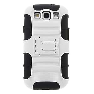 Funda protectora multicapa desmontable en forma de coche para Samsung Galaxy S3 I9300 con protector de pantalla (Blanco)