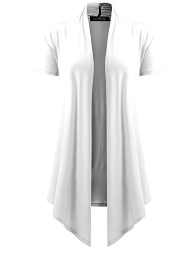 A.F.Y All For You Women's Soft Drape Cardigan Short Sleeve White XXX-Large (Long Cardigan Sleeve Short)