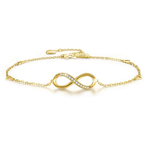 Esberry 18K Gold Plated 925 Sterling Silver 5A Cubic Zirconia CZ Infinity Ankle Bracelets Endless Love Symbol Charm Adjustable Foot Jewelry for Women and and Teen Girls,Gift for Valentine's Day