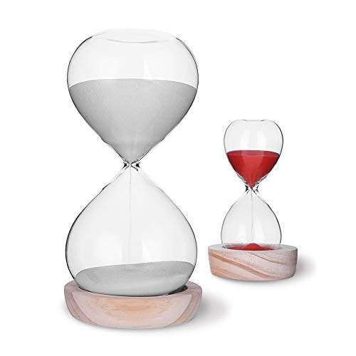 Hourglass Sand Timer Set-60 Minute & 5 Minute Timer Sets -Sand Clock Timers for Room Kitchen Office Decor -Time Management Tool with Wooden Base Stand ()