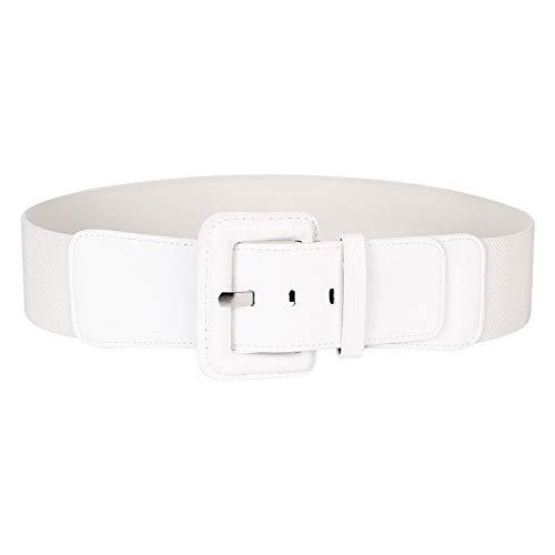 Dress Belts for Women Wide Elastic Stretch Waist Cinch Belt White By SUOSDEY ()