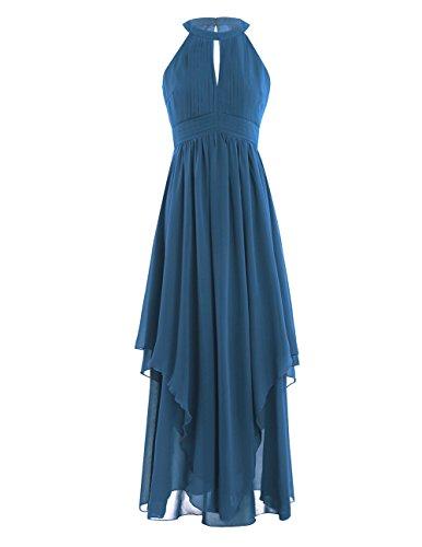06225fcaef61 iEFiEL Damen Kleid festliche Kleider Brautjungfer Hochzeit Cocktailkleid  Chiffon Sommer Kleid Elegant Langes Abendkleid Dunkel Azurblau