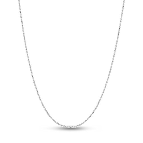 (R&R Sterling Silver Rhodium Plated Diamond-Cut Rope Chain Necklace, 1.4mm 26