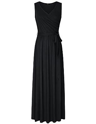 Lotusmile Womens Sleeveless Elegant Dresses Casual Plain Maxi Long Dress with Pockets