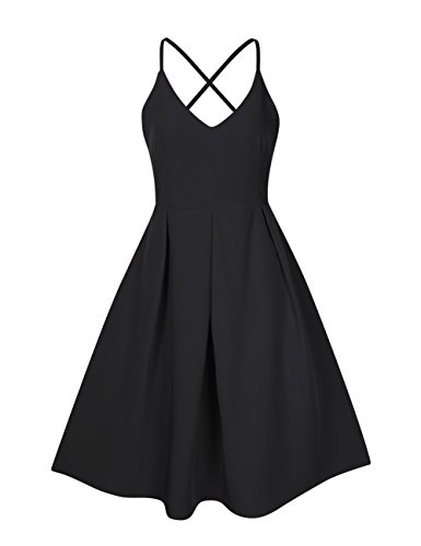 - GlorySunshine Women's Deep V Neck Adjustable Spaghetti Straps Dress Sleeveless Sexy Backless Cocktail Party Dresses (L, Black2)
