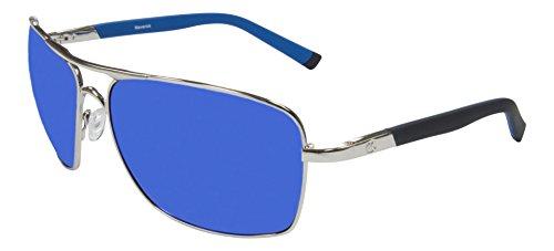 Maverick Aviator Silver frame with Blue Chrome mirror - Eyewear Outlaw