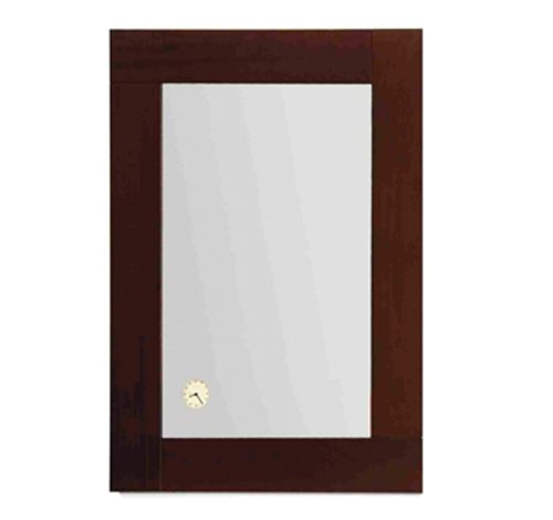 Whitehaus AMET02-EBONYWO Antonio Miro 35 1/2-Inch Rectangular Mirror with Iroko Wood Frand a Built-In Clock, Ebony Wood ()