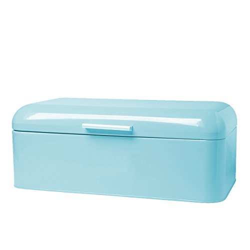 Homelet Bread Box - Vintage Retro Stainless Steel Powder Coated Bread Bin Storage with Lid for Kitchen, Turquoise (Bread Stainless Steel Bin)