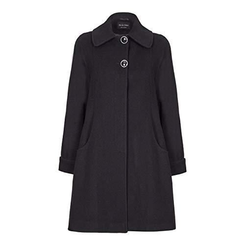 De La Creme Black Womens Swing Wool Cashmere Winter Coat Size 10