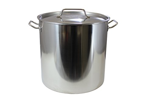 CONCORD Polished Stainless Steel Stock Pot Brewing Beer Kettle Mash Tun w/ Flat Lid (50 (50 Quart Stock Pot)