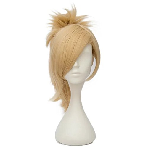 [Hot Anime Light Blonde Girls Cosplay Wig+45cm Ponytail+Cap] (The Office Angela Costume)