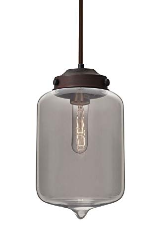 Besa Lighting 1TT-OLINSM-BR Olin - One Light Stem Pendant with Flat Canopy, Bronze Finish with Smoke Glass (Pendant Br Light Stem 1)