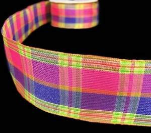 Rose Purple Ribbon Awareness - 5 Yds Pink Purple Yellow Green Colorful Plaid Wired Ribbon 1 1/2