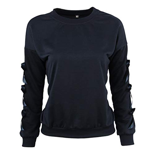 Xinantime Women Sweatshirt Loose Solid Color Bow Long Sleeve O Neck Casual Blouse Tops Black ()