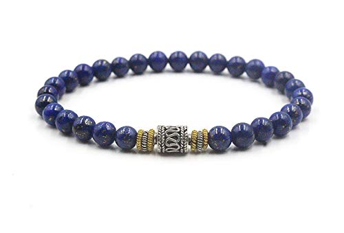 Lapis Lazuli Beads Bracelet, Lapis and Sterling Silver Beads Bracelet