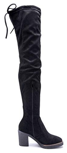 Schuhtempel24 Damen Schuhe Overknee Stiefel Stiefeletten Boots Blockabsatz Zierschleife 8 cm Schwarz