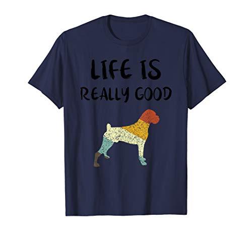 Vintage Boxer Life Is Really Good Retro Dog Mom Dad Gift  T-Shirt