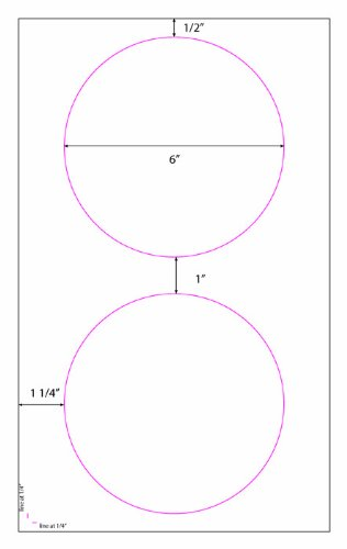 Large 6'' Round White Labels by Label Outfitters 6'' Diameter on Legal Sheet - 100 Sheets - 200 Labels by Label Outfitters