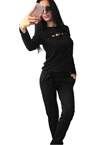 Velour Tracksuit Set Women Two Piece Lace up Crew Neck Long Sleeve Solid Sweatshirt with Long Pants with Waist Band, 3-black, - Band Crewneck Sweatshirt