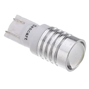 2Pcs T10 1.5W 1-LED 70-90LM 6000-6500K Cool White Light LED Bulb with Optical Glass Convex Lens (12V)