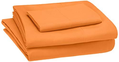 AmazonBasics Kid's Sheet Set - Soft, Easy-Wash Microfiber - Twin, Bright Orange -