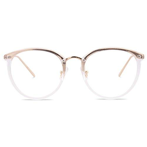 Amomoma Round Non-Prescription Eyeglasses Clear Lens Glasses Eyewear Frame A5001