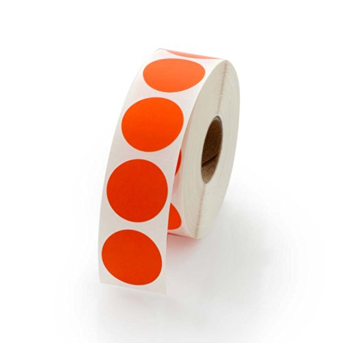 Orange Round Color Coding Inventory Labeling Dot Labels / Stickers - 1 Inch Round Labels 1000 Stickers Per Roll
