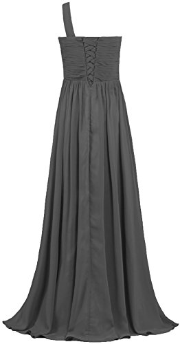 ANTS Women's Bridesmaid One Evening Shoulder Dresses Pleat Long Chiffon Gown Gray rrxWZ1dRn