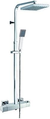 Columna ducha vista termostática cuadrada cromo. QUEBAÑOS: Amazon ...