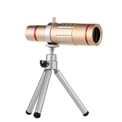 Sonmer HD 18x Optical Zoom Smartphone Camera Aluminum Alloy Telescope, With Clip Tripod (Gold) by Sonmer (Image #1)