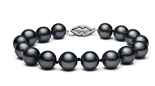 9-9.5mm Black Japanese Akoya Cultured Pearl Bracelet AA+ Quality 14k White Gold Clasp, 7.5