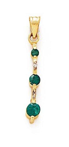 14 carats avec émeraude et diamants bruts Pendentif JewelryWeb