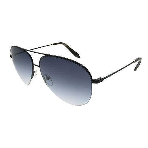 Victoria Beckham VBS 90 C17 Matte Black Metal Aviator Sunglasses Blue Gradient ()