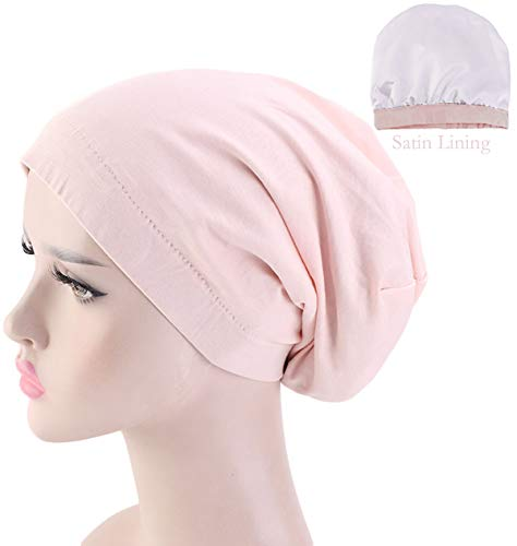 JarseHera Satin Lined Sleep Cap Cotton Slap Hat Slouchy Beanie Night Bonnet (Shell Pink, One Size Fit All) ()