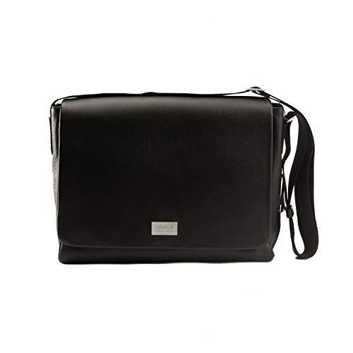 Giorgio Armani Collezioni Men's Grained Leather Messenger Bag with Shoulder Strap Black