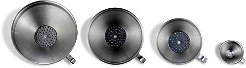 Pro Chef Kitchen Tools Stainless Steel Funnel Set - 4 Sizes with Removable Strainers