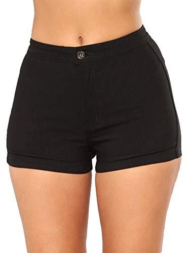 Cotton Shorts Jean - Govc Women's High Waisted Jean Shorts Casual Summer Juniors Solid Color Cotton Denim Short Jeans(Black,S)
