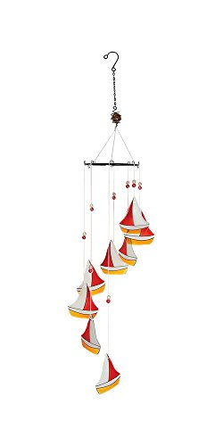Charming Decorative Wind Mobile, Hanging Sail Boats Glass Decoration, Red Yellow and White Sail Boat Design, 19-inch Sail Glass