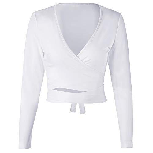 (ENIDMIL Womens Sexy Deep V Neck Long Sleeve Slim Fit Bandage Cross Wrap Tie Up Crop Top Shirts (White, Medium))
