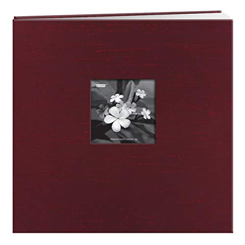- Pioneer 12 Inch by 12 Inch Postbound Silk Fabric Frame Front Memory Book, Cranberry