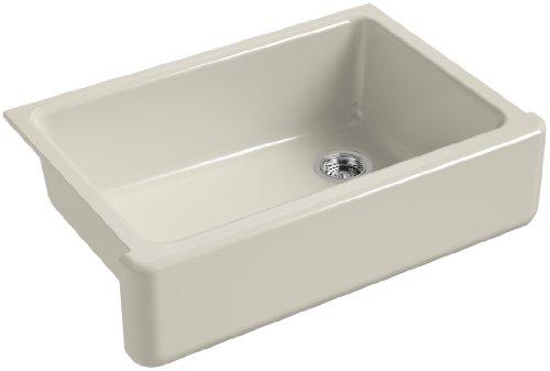 KOHLER K-5827-G9 Whitehaven Self-Trimming Under-Mount Single-Bowl Sink with Tall Apron, Sandbar (Kitchen G9 Sandbar Sink)