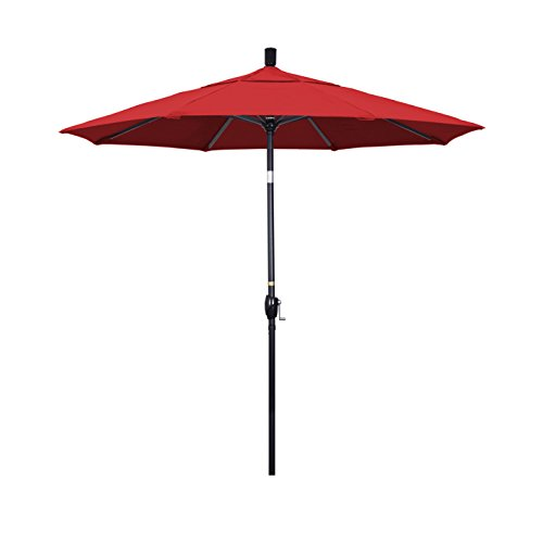 Push Button Crank Lift (California Umbrella 7.5' Round Aluminum Market Umbrella, Crank Lift, Push Button Tilt, Black Pole, Sunbrella Jockey Red)