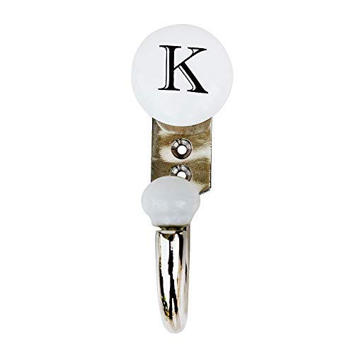 (Indinshelf Handcrafted Letter K Alphabet Key Hooks Wall Mount Hangers Coat Holders Hanging Clothes Hat Mug Kitchen Utensils Bathroom (White_Ceramic_4.75 Inches)-1 Piece)