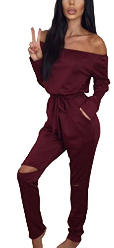 Hibluco Women's Sexy Off Shoulder Jumpsuits Knee Hole Pants Party Club Rompers (Small, Wine Red) (Sexy Pants Suits)