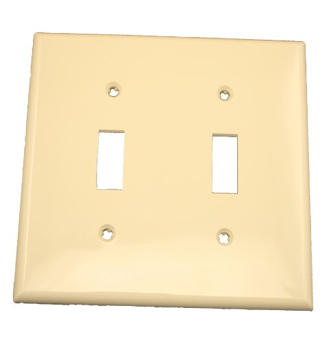 Leviton 80709-I 2-Gang Toggle Device Switch Wallplate, Standard Size, Thermoplastic Nylon, Device Mount, (Gang Thermoplastic Wall Plate)