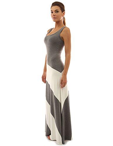 (PattyBoutik Women Racerback Striped Maxi Dress (Gray and Ivory White Medium))