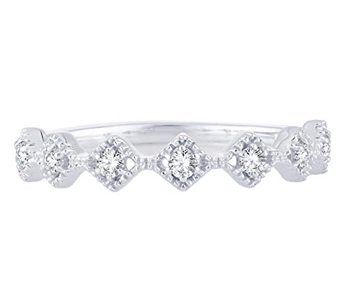 - 0.14 Cttw Diamond Eternity Stackable Vintage Style Band Ring In 10k White Gold