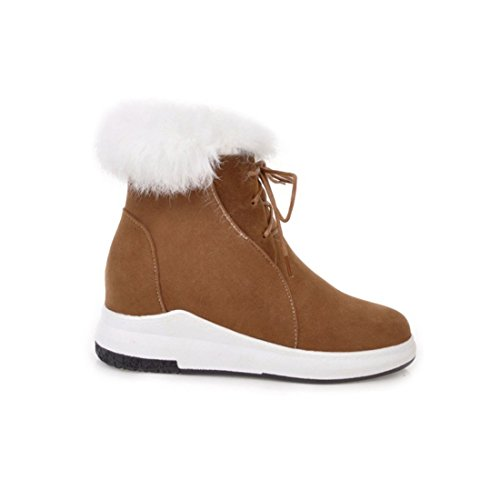 With Ankle Boots Warm Closed Lace Platform Winter Wedge Shoes Heel up Fur Faux Toe Women's Agodor Brown wH80YY