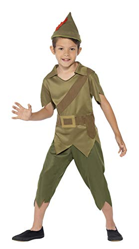 Smiffys Children's Robin Hood Costume, Top, Trousers, Hat, Serious Fun, Color: Green Ages 7-9, Size: Medium, -
